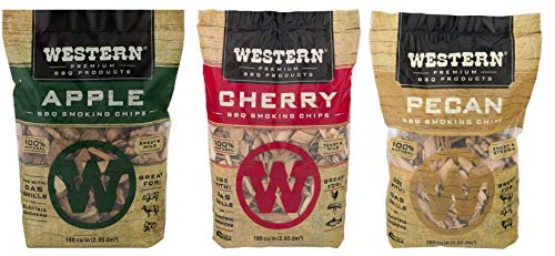 Ultimate Western BBQ Smoking Wood Chips Variety Pack Bundle 3 Apple Pecan and Cherry Flavors