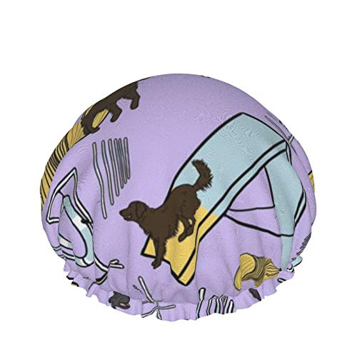 Doublelayer - Gorro de ducha impermeable para mujer, reutilizable, lavable, pelo largo, con revestimiento plano y agilidad, color morado