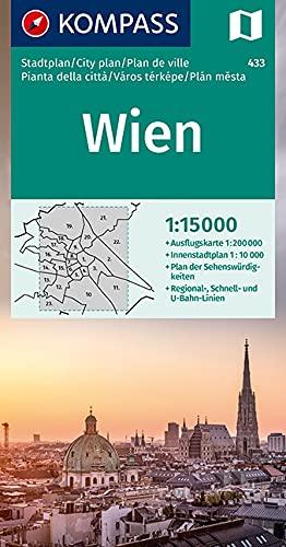 Wien: 1:15000. Innenstadt 1:10000. Ausflugskarte 1:200000 (KOMPASS-Stadtpläne, Band 433)