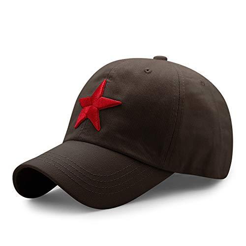 Baumwoll-baseballmütze Im Freien Sonnenhut Bestickte Lässige Schirmmütze 56-60cm Roter fünfzackiger Stern auf Kaffeebasis