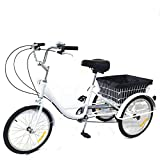 DIFU - Triciclo de 20 pulgadas, 3 ruedas, 8 velocidades, para personas mayores,...