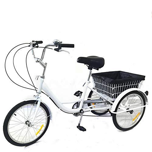 DIFU - Triciclo de 20 pulgadas, 3 ruedas, 8 velocidades, para personas mayores, compras, para adultos, triciclo con cesta de la compra, color blanco