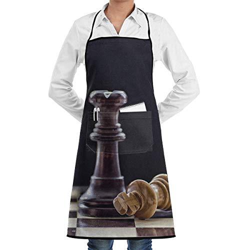 N\A Cocina Chef Delantal con Peto Ajedrez Imagen Cuello Cintura Corbata Centro Canguro Bolsillo Impermeable