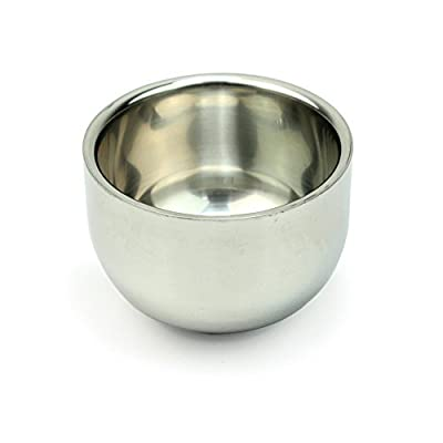 Butterme Men's Double Stainless Steel Shave Soap Cup Shaving Bowl