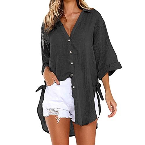 QUNIMA Oversize blouse t-shirt jongens dames sexy tule mesh bovenstuk lange mouwen transparant shirt wikkeltops met pofmouwen