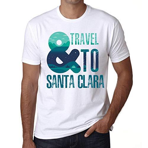 Hombre Camiseta Vintage T-Shirt Gráfico and Travel To Santa Clara Blanco