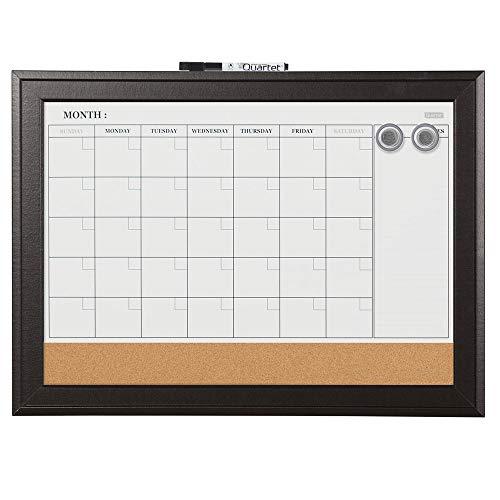 "Quartet Combination Magnetic Whiteboard Calendar & Corkboard, 17"" x 23"" Combo Dry Erase White Board & Cork Bulletin Board, Perfect for Office, Home School Message Board, Black Frame (79275)"