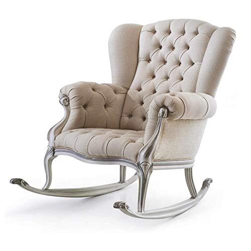 SHUILV Silla Mecedora de sofá único Europeo, sillón de Madera Maciza para el hogar, Retro Princesa Chaise Longue, Silla de balcón de Ocio