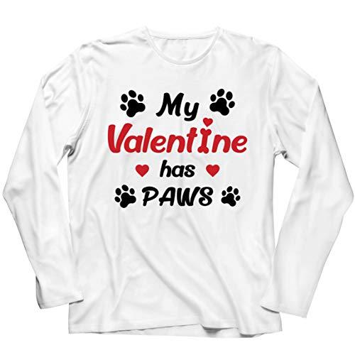 lepni.me Camiseta de Manga Larga para Hombre Mi Valentn iene Patas Regalo para los Amantes Adictos a Las Mascotas en el Da de San Valentn (M Blanco Multicolor)