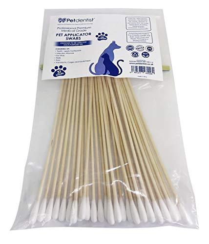 Petdentist-Professionelle Wattestäbchen, extra lang, 15,2 cm Ideal für Verschiedene Anwendungen – Zahnpasta-Applikator, Hundeohrreinigung und andere Reinigungsmöglichkeiten. Umweltfreundlich (31)
