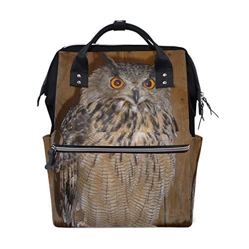 Zainetto per pannolini con gufo e uccellino, personalizzabile, per la scuola, i viaggi, le escursioni
