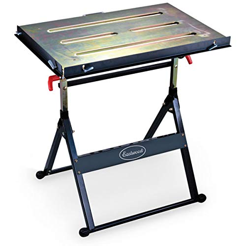 Eastwood Adjustable Steel Welding Table Strong Hold Industrial Workbench Table Welding 14 Gauge Plated Work Surface