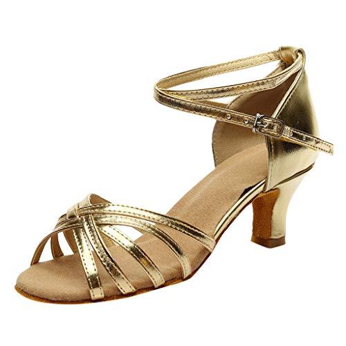 Riou-Sandals Damen Sommer Kreuzgurt Tanzschuhe High Heels Ballsaal Latin Salsa Pailletten Schuhe Social Tango Dance Schuh Frauen Leinwand Vamp Leder Sohle Segelschuhe