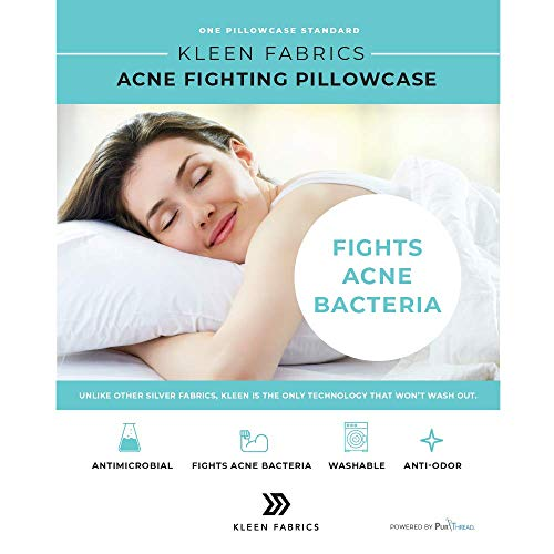 Kleen Fabrics Antimikrobieller Kissenbezug mit PurThread-Silber-Technologie, weiß, 1 Standard-Kissenbezug.