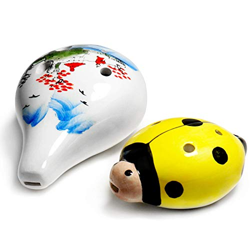 MEEKOO Ocarina Instrument 6 Hole G Major - Night by Noble Ocarinas of Time Legend of Zelda,Songbird for Happy Childhood Gift Whistle Toys(Ecosphere, Yellow worm)