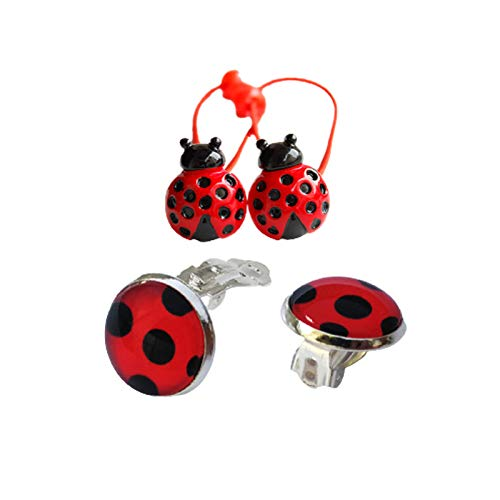 2 Pairs Ladybug Clip on Earrings + 1 Pairs Ladybug elastic hair tie loop Red Ladybird Little Beetle Charm for Girl Women Child Teen Adult 4 pcs