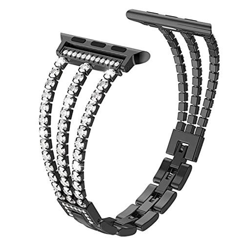 Cadena con correa de diamantes Para Apple Watch 3 bandas 44mm 40mm Correa de metal Para iWatch serise 5 4 2 para Apple Watch 6 correa 38mm 42mm