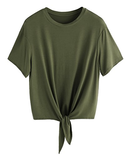 ROMWE Women's Short Sleeve Tie Front Knot Casual Loose Fit Tee T-Shirt Army Green S