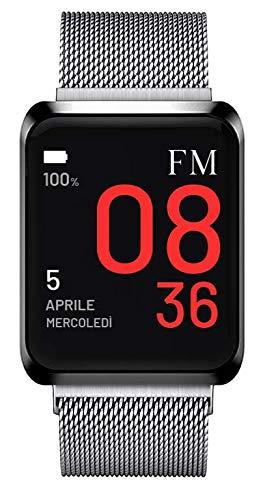 FLORENCE MARLEN FM1S Amalfi | Disegnato In Italia | 2 CINTURINI | Smartwatch Uomo-Donna Maglia Milanese Argento |Orologio,Water-Resistant|Cardiofrequenzimetro,Contapassi,Notifiche|IOS&Android