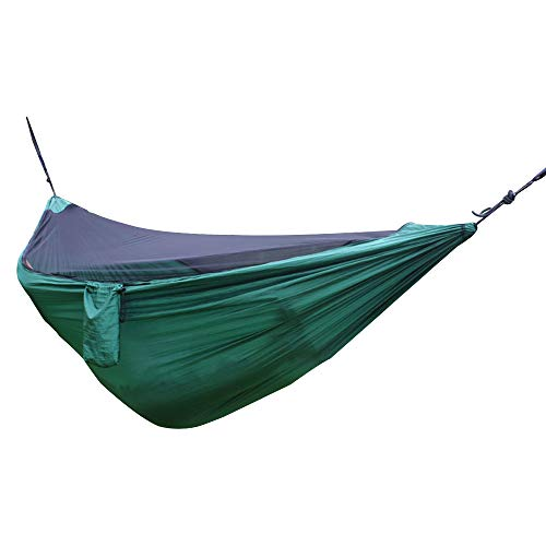 Decdeal Camping hamac avec Filet léger léger hamac en Nylon portatif hamac Multifonctionnel pour Le Patio extérieur Jardin Backyard Voyage Sac à Dos