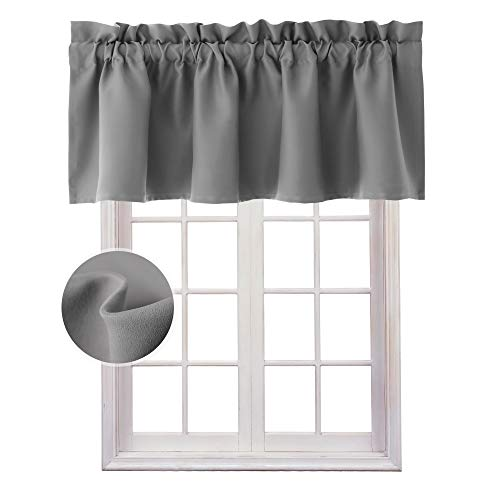 Hiasan Valance Curtains for Kitchen Blackout Thermal Insulated Solid Window Curtain Valance, Grey, 42 x 18 Inches, 1 Panel