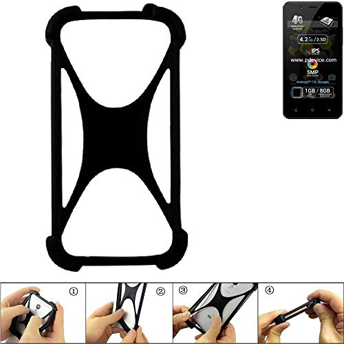 K-S-Trade® Handyhülle Für Allview P4 Pro Schutz Hülle Silikon Bumper Cover Case Silikoncase TPU Softcase Schutzhülle Smartphone Stoßschutz, Schwarz (1x),