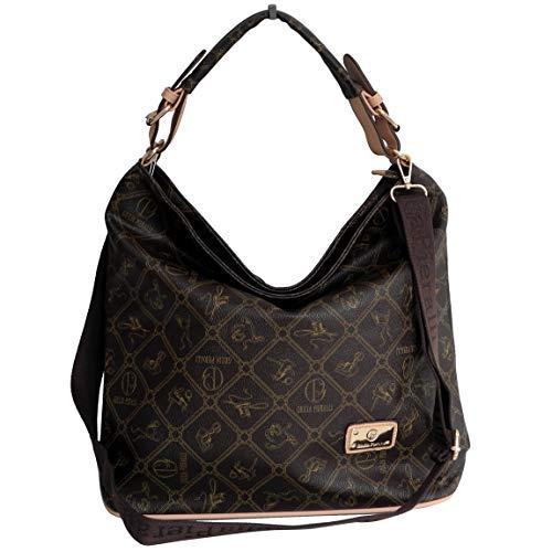 Giulia Pieralli Damen Designer Schultertasche Handtasche Damentasche Umhängetasche (Kaffee Beige) - präsentiert von ZMOKA®