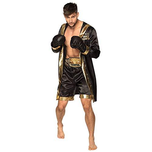 Boland 84555  Disfraz de bxer, abrigo, guantes, pantalones, cinturn, para hombre, dorado y negro, campen del mundo, disfraz, carnaval, fiesta temtica