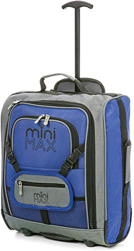 MiniMAX Childrens/Kids Luggage Carry On Trolley Suitcase with Backpack and Pouch for Your Favourite Doll/Action Figure/Bear(Blue)