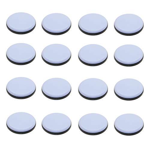 Pack de 16 deslizadores de teflón para muebles de teflón, redondos, autoadhesivos, para patas de silla, deslizadores de suelo, 25 x 25 mm