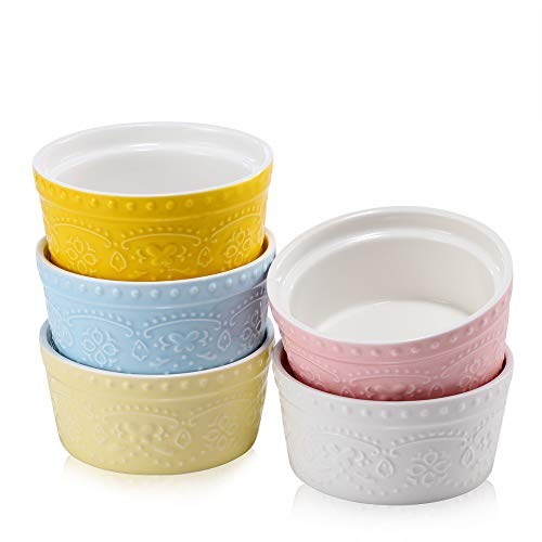 BonNoces Porcelain Embossed Ramekins Souffle Bowls Dishes, 6 Oz Pudding Bowls Dishes Cup for Baking, Set of 5