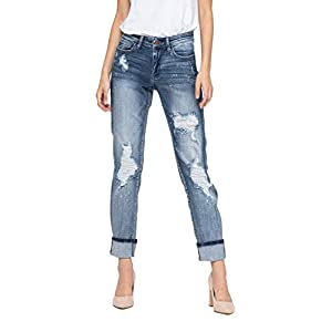 Judy Blue Destroyed Bleach Splattered Cuffed Boyfriend Jean (Style: 82169)