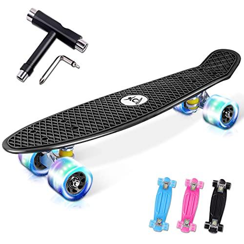 """Colmanda Mini-Cruiser Retro-Skateboard, Skateboard Komplette 22\"""" 55cm, Skateboard Retro Komplettboard mit Kunststoff Deck und Blinkenden LED-Rollen, Cruiser Skateboard für Jungen und Mädchen(Schwarz)"""