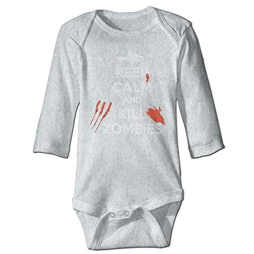 Body de manga larga para bebé, unisex, para recién nacido, para mantener la calma y matar a los zombies, mono de manga larga, traje de sol, color ceniza