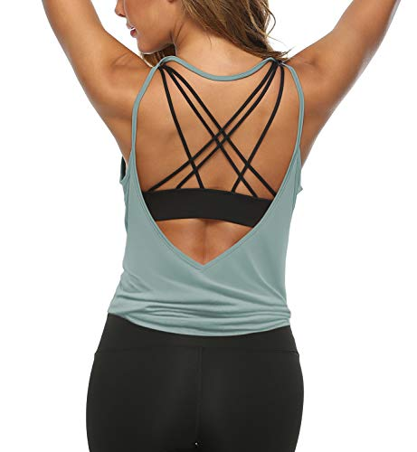 LEXISLOVE Womens Workout Tank Tops Backless Yoga Tops Sexy Running Tops Blue