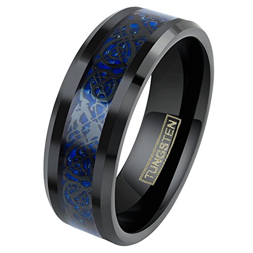 King's Cross Personalized Engraved 8mm Black Tungsten Carbide Wedding Band w/Black Celtic Dragon Inlay on Dark Blue Background. (Tungsten (8mm), 9.5)