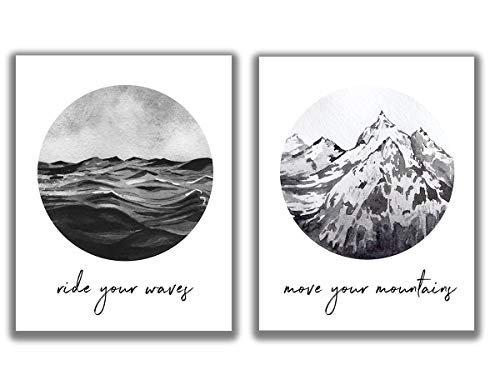 Ocean Waves & Mountain Watercolor Motivational Wall Art - Set of 2-11x14 UNFRAMED Abstract Nordic-Look Decor Prints. Calming, Zen, Neutral Shades of Gray, Tan & White.