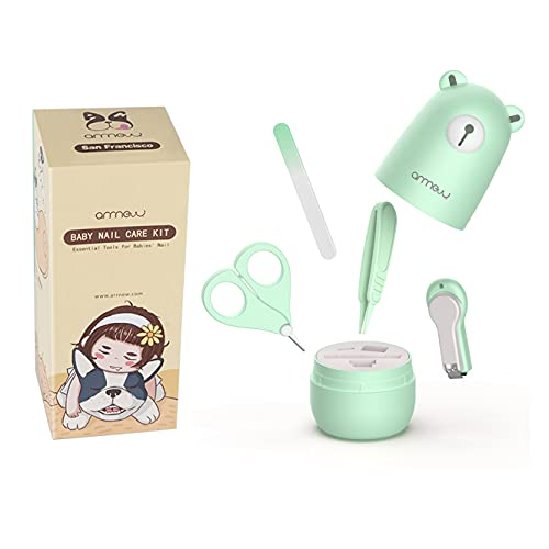 Baby Nail Clippers 4-in-1 Set by ARRNEW  New Born Essential Baby Nail Kit, Baby Nail File, Baby Nail Scissors & Tweezers   Baby Stuff Kids Stuff for Newborn, Toddler and New Moms (Mint Bear)