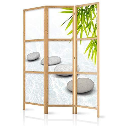 murando - Paravent Spa Zen Orient 135x171 cm 3-teilig einseitig eleganter Sichtschutz Raumteiler Trennwand Raumtrenner Holz Design Motiv Deko Home Office Japan p-C-0016-z-b