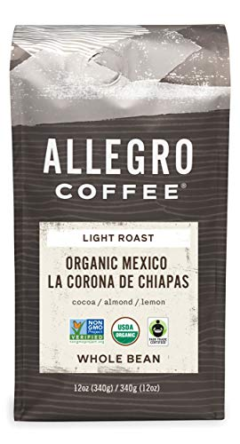 Allegro Coffee Organic Mexican Light Roast Whole Bean Coffee, 12 oz