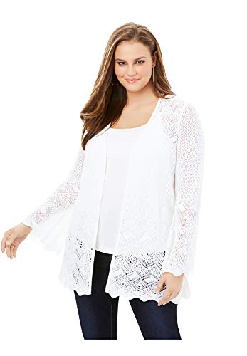 Roamans Women's Plus Size Bell-Sleeve Pointelle Cardigan Sweater - 26/28, White