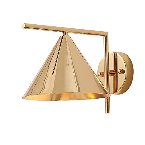 LBMTFFFFFF Lámpara de Pared Soporte de Luz Minimalismo Americano Aplique Lámpara de Pared Lámpara de Hierro Cónica Dorada Cuerpo Sistema Integrado Luces de Pared E27 Iluminación de Pared de Base para