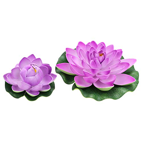 POPETPOP 6pcs Plastic Water Floating Lotus Flowers Realistic Water Lily Floral Outdoor Decoration Ornament for Garden Koi Fish Pond Aquarium Pool Wedding Size M L (Purple)