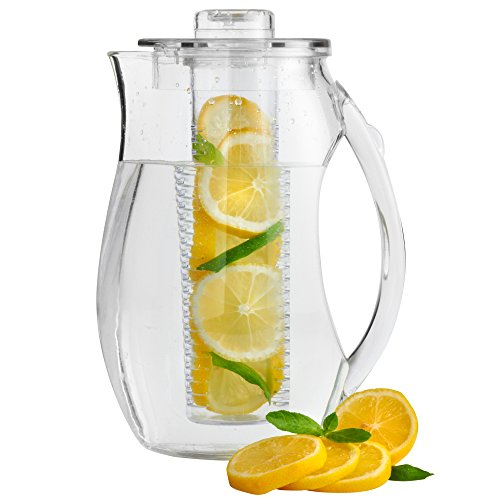VonShef 2.7L BPA-Free Plastic Fruit Infusion Pitcher Jug. Infusion Core for Fruit Flavoured Water and Iced Drinks