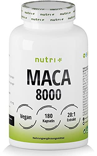 MACA Kapseln hochdosiert + vegan - Macca Gold 8000-180 Capsules - Original 20:1 Premium Extrakt (Root Powder) - laborgeprüft für Männer & Frauen