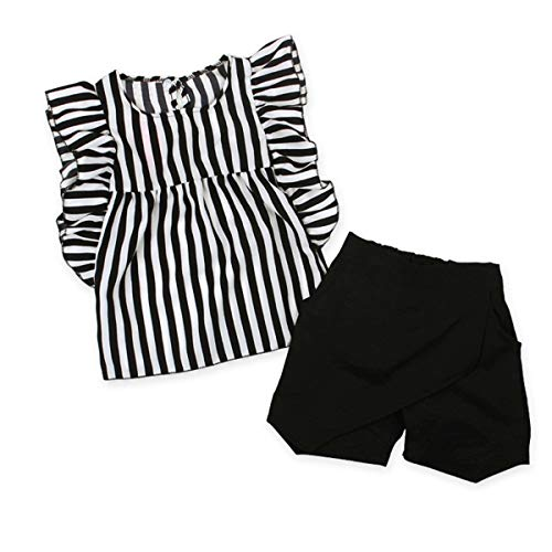 PeiXuan2019 New Fashion Kid Baby Girl Gestreiftes Loses Hemd + Chic Cut Shorts Outfit Anzug 2 STÜCKE (Size : 3-4T)