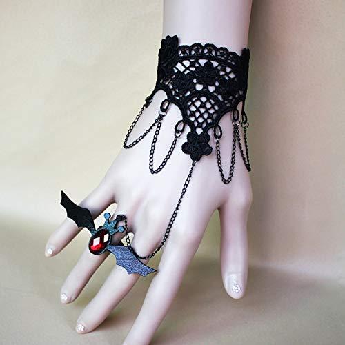 MLSJM Damen Armband Ring-Set Gothic Vintage Fledermaus Spitze Armband Armreif, PU-Leder eingefasst, roter Kristall, Halloween, Weihnachten, Kostümparty