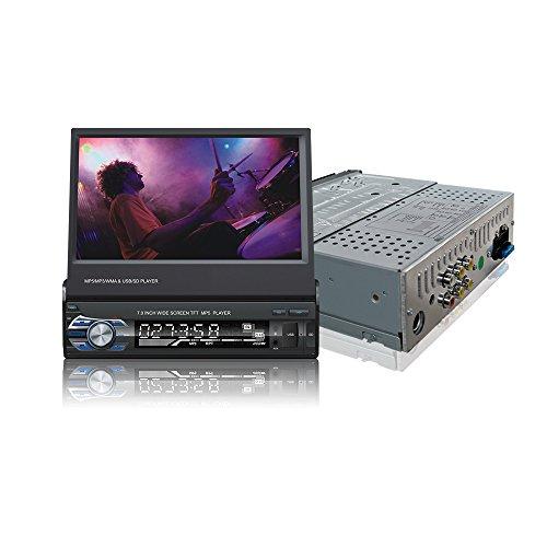 Ezonetronics Indash Autoradio Ausklappbarer 7 Zoll herausziehbarer Bildschirm 1 DIN Autoradio Stereo FM Bluetooth MP3 MP4-Player mit USB/SD-Port Rückfahrkamera-Eingang+Fernbedienung 9601