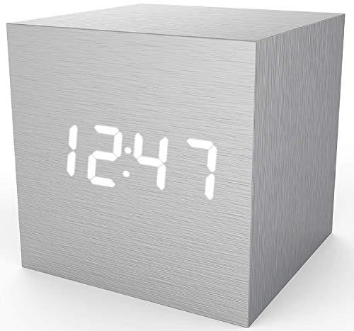 Scra AC Sveglia Digitale Sveglia in Legno USB/Batteria alimentata, Orologio da scrivania Cubetto Orologio per camere da Letto, Bambini, Soggiorno, Cucina con Data Display Tempo di Temperatura, Nero