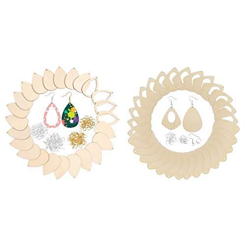 SNOWINSPRING 2Set Wood Earrings Charms Unfinished Water Drop Earrings Teardrop Earring Pendant Findings for Women Earrings DIY Making